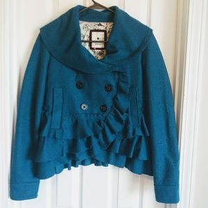 Elevenses size 4 ruffle cropped teal jacket